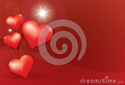 Heart star red background
