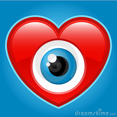 Heart with staring eye
