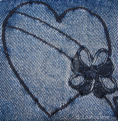 Heart stitched on denim