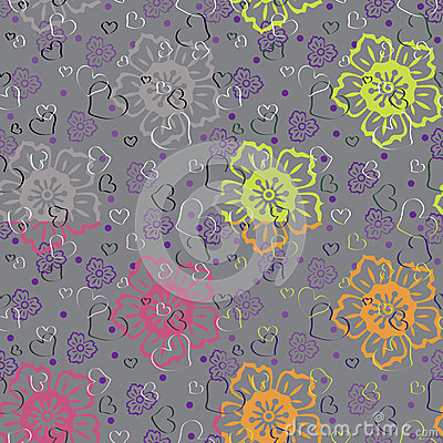Heart with stylized flowers.Set of seamless patter