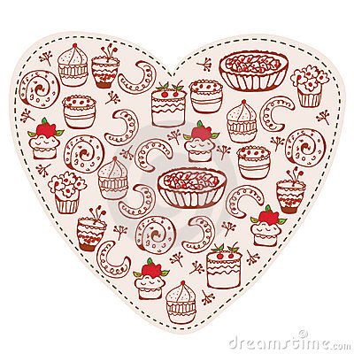 Heart sweets funny doodle