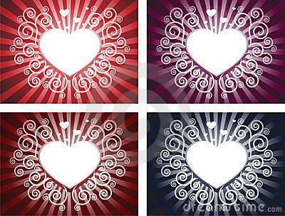 Heart with swirl background