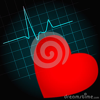 Heart symbol with heartbeat