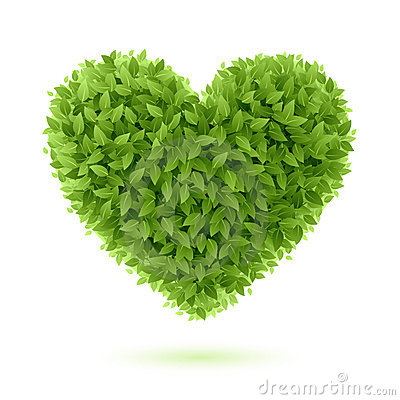 Free Heart Symbol In Green Leaves Royalty Free Stock Photography - 21330407