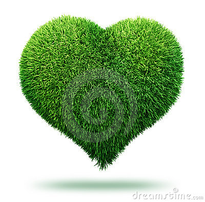 Heart symbol made of grass