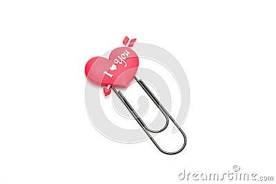 Heart symbol paper clip
