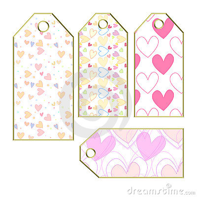 Heart tags or labels