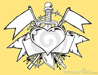 Heart tattoo b/w