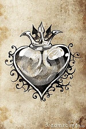 heart tattoo sketch handmade design stock illustration image 38807578. Black Bedroom Furniture Sets. Home Design Ideas