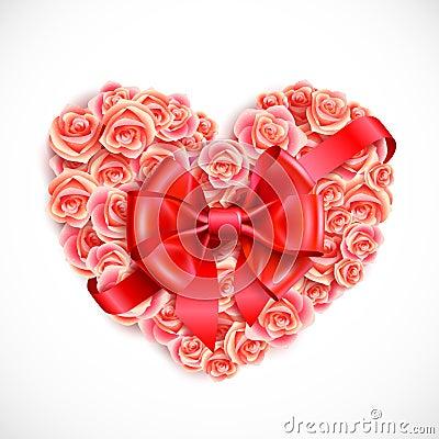 Heart of tender pink roses