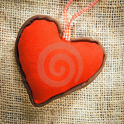 Heart on a textile background