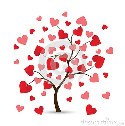 Heart Tree Logo Cartoon Illustration