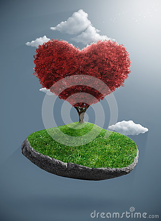 Heart tree on suspended rock