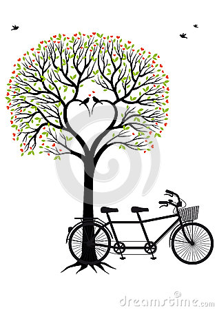 Free Heart Tree With Birds And Bicycle, Vector Royalty Free Stock Photo - 33939505