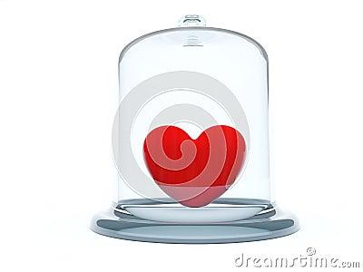 Heart under glass bell