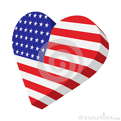 Heart in the USA flag colors cartoon icon Vector Illustration