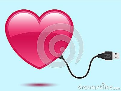 Heart with USB plug