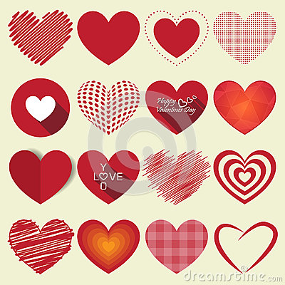 Free Heart Valentine Icon Set Vector Illustration Royalty Free Stock Images - 48425619
