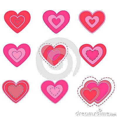 Heart valentine s day set. illustration.