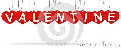 Heart valentine tag label
