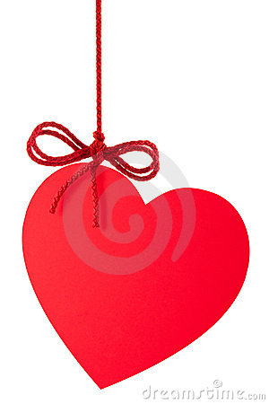Free Heart-Valentine With A Bow Hanging On A Rope Royalty Free Stock Image - 21185746