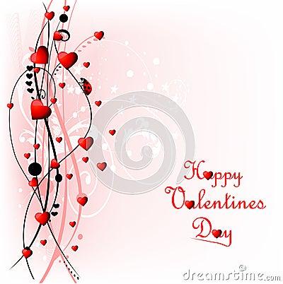 Heart Valentines Day background with ladybug