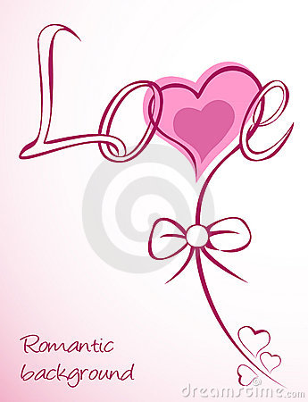 Heart vector love pink flower. Card Vector Illustration