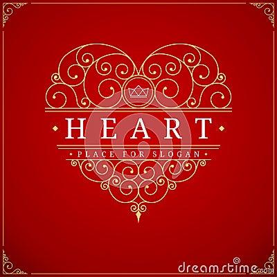 Free Heart Vintage Luxury Logo Template Royalty Free Stock Photo - 63435525