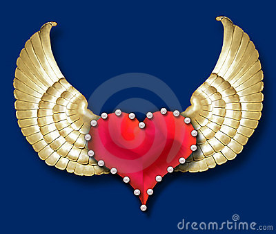 Heart w/golden wings