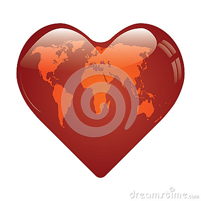 Heart whit world map on.