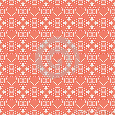 Heart white line valentine day design pattern on pink background Vector Illustration