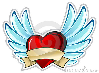 Old school tattoo dagger through heart stock photos image - Heart With Wings Stock Image Image 12581211