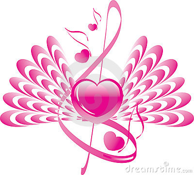 Heart with wings and note with treble clef