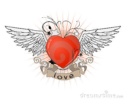 Heart with wings and ribbon