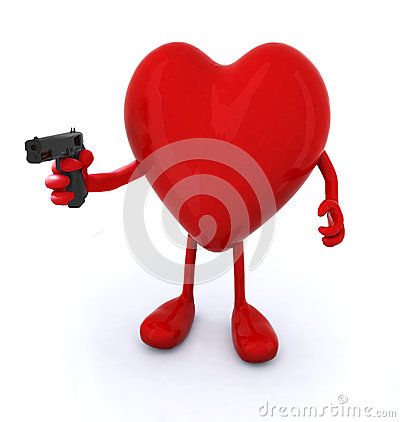 Free Heart With Arms And Legs And Gun Stock Photos - 40497003
