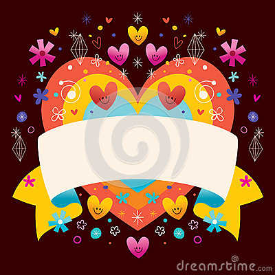 Free Heart With Blank Ribbon Stock Photography - 53515252