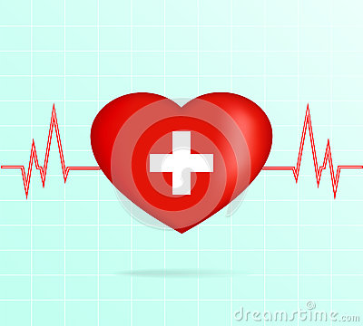 Free Heart With Cardiogram. Royalty Free Stock Photo - 55044285