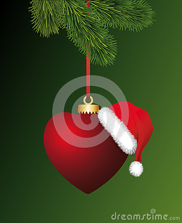 Free Heart With Santa Claus Hat Hanging On The Christma Royalty Free Stock Photos - 35630838