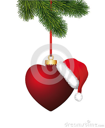 Free Heart With Santa Claus Hat Hanging On The Christma Stock Photo - 35630910