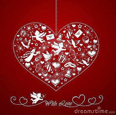 Free Heart With Set Of Icons Stock Photography - 23191142