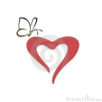 Free Heart With The Butterfly Royalty Free Stock Photo - 6554845