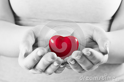 Heart in woman hands. Love giving, care, health, protection. Stock Photo