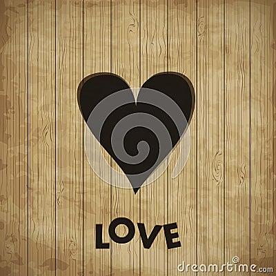 Heart in wood,