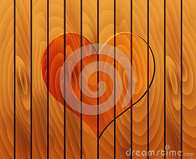 Heart on wooden texture