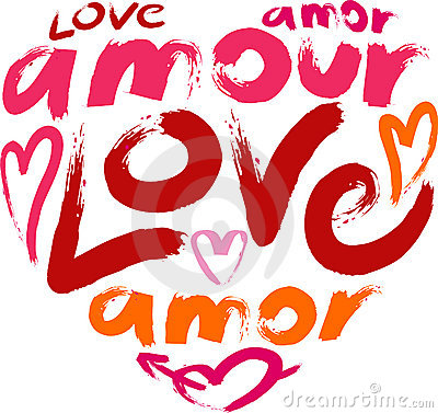 Heart with a word love in a many languages