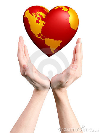 Heart world in hands