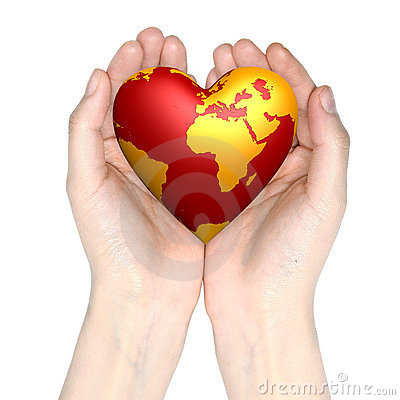 Free Heart World In Hands Stock Images - 5460424