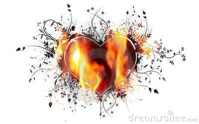 Heart wrapped in flames