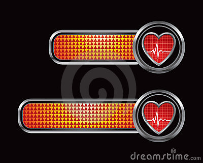 Heartbeat on checkered orange banners