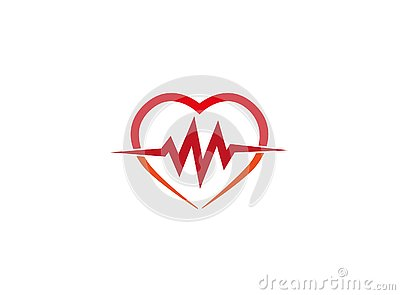 Heartbeat inside the heart the cardiology for logo Cartoon Illustration